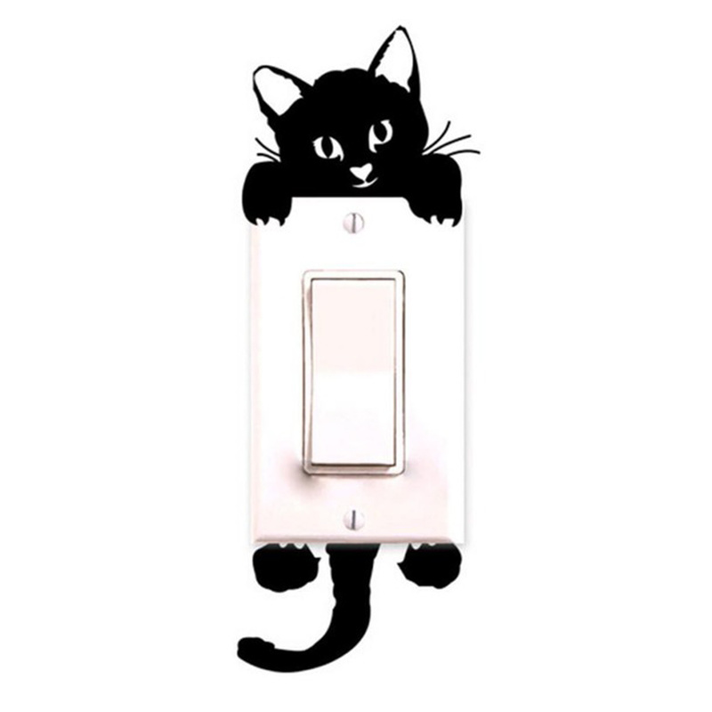 Mural Wall-Stickers Phone Cat-Light-Switch Rooms Home-Decoration Kitchen Cartoon-Animals title=