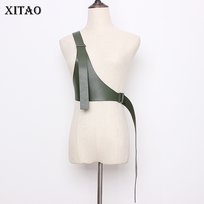 XITAO Vintage PU Irregular Cummerbunds Fashion New Elegant Small Fresh 2019 Autumn Small Fresh Casual Cummerbunds GCC2716