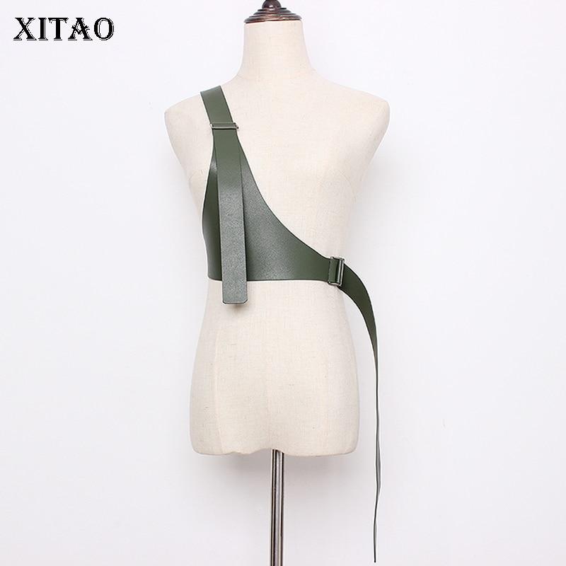 XITAO Vintage PU Irregular Cummerbunds Fashion New Elegant Small Fresh 2019 Autumn Small Fresh Casual Cummerbunds GCC2716