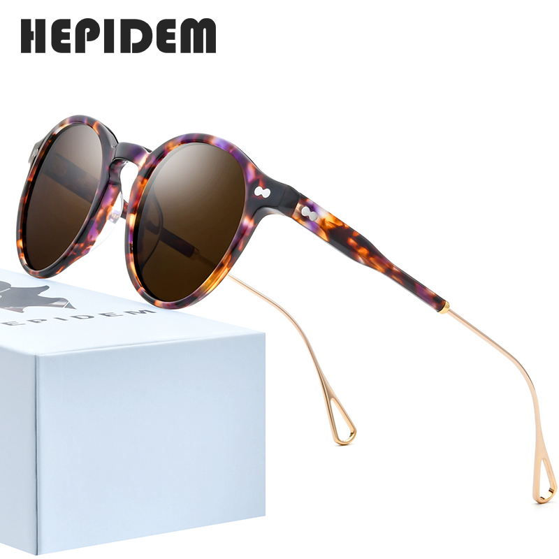 HEPIDEM Acetate Polarized Sunglasses Women 2020 New Brand Designer High Quality Retro Vintage Round Sun Glasses For Men 9121