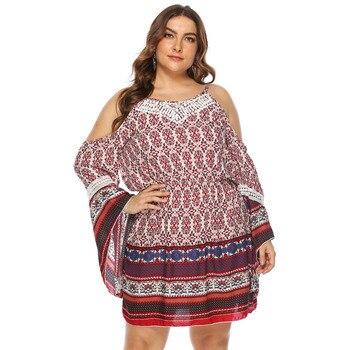 Bare Shoulders Plus Size Dress Clothes Plus Size cb5feb1b7314637725a2e7: Multi