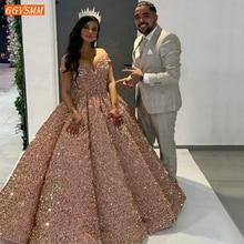Блестящие розовые вечерние платья 2020 милое бальное платье с блестками и открытыми плечами формальное платье длинное банкетное вечернее платье на заказ