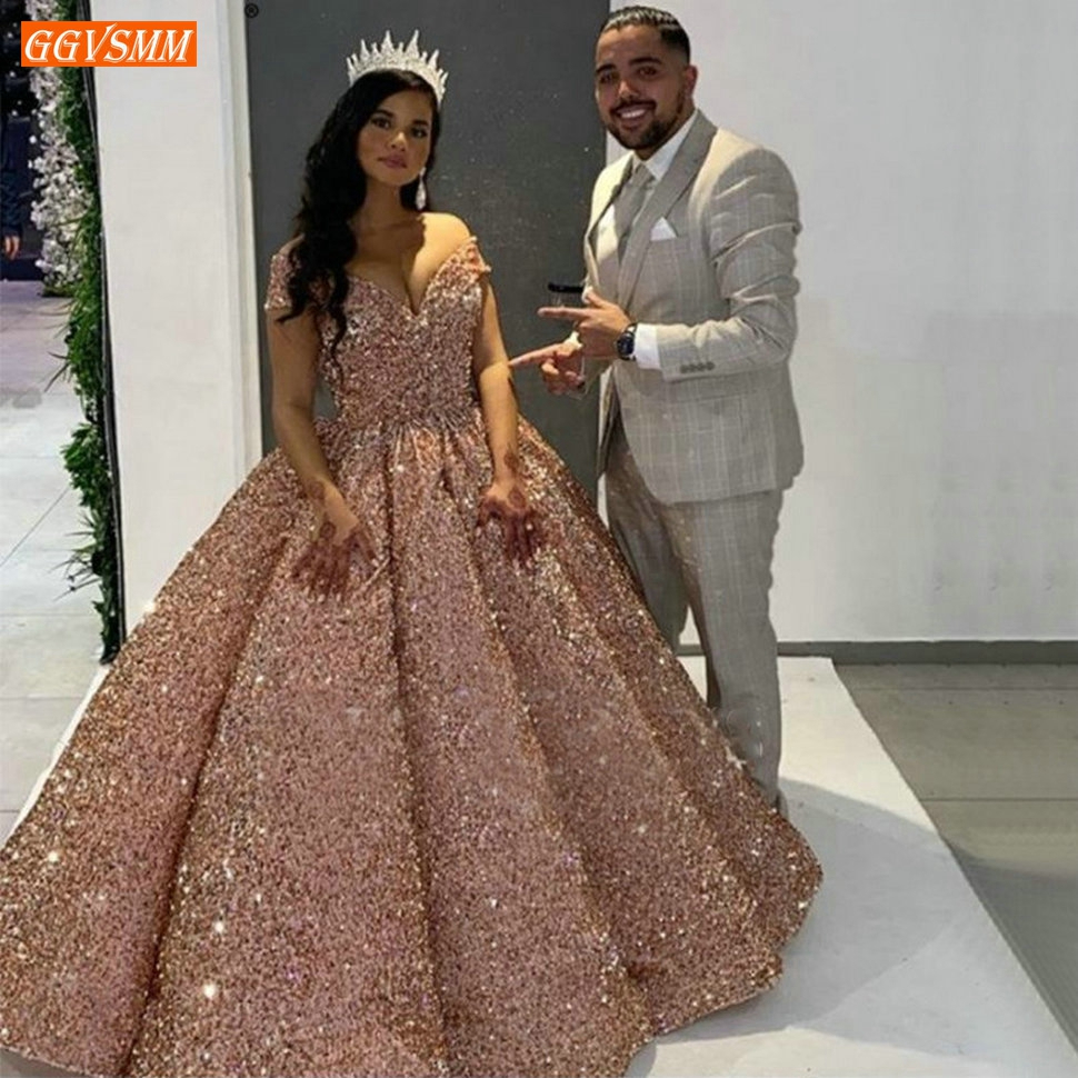 Sparkly Pink   Evening     Dresses   2020 Sweetheart Sequined Off Shoulder Ball Gown Formal   Dress   Long Banquet Custom Made   Evening   Gowns
