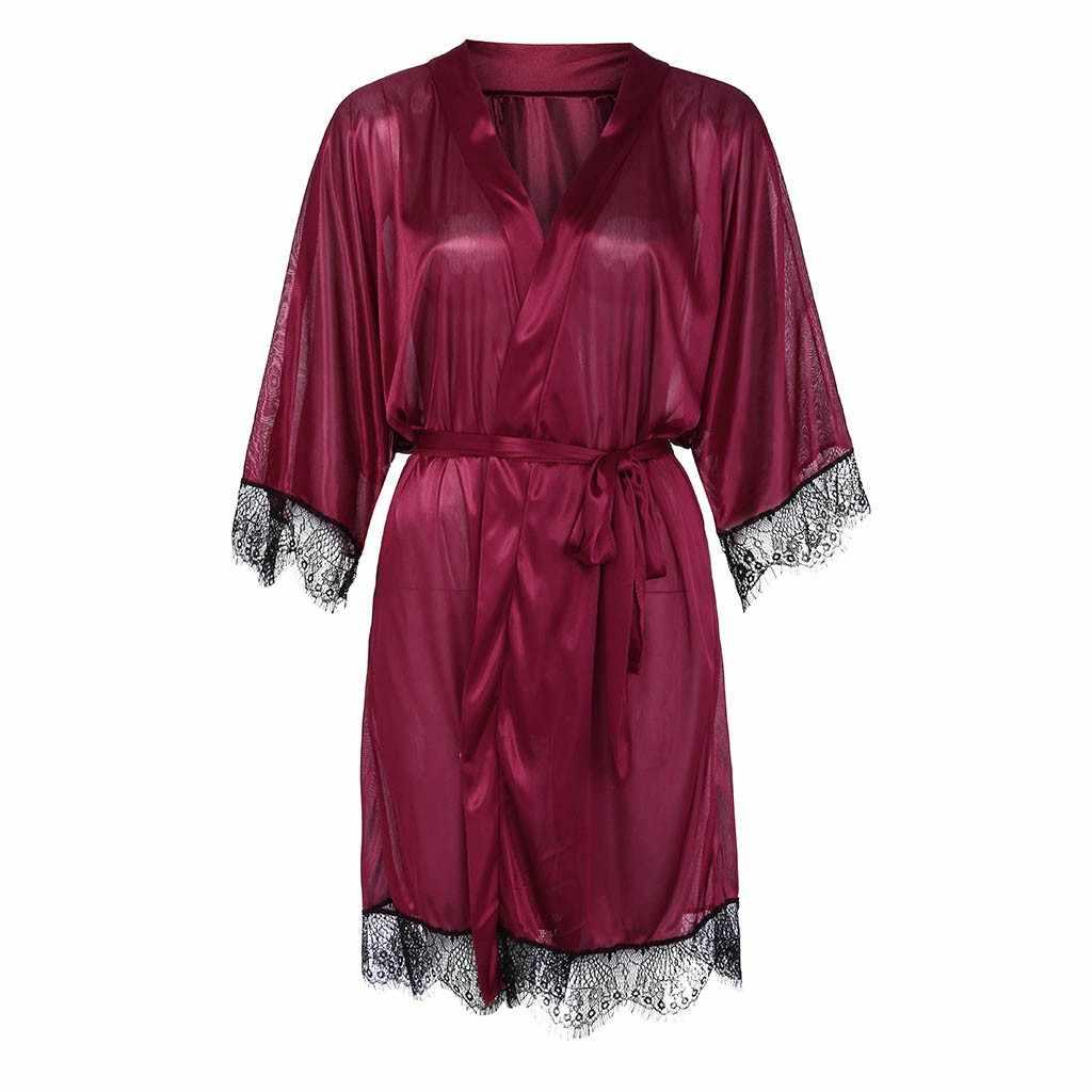 แฟชั่น Bud Silk ชุดนอนผู้หญิงเซ็กซี่สีดำผ้าไหมซาติน Kimono เซ็กซี่ชุดนอนชุดนอน Robe Lace ชุดชั้นใน Bodydoll ชุดนอน