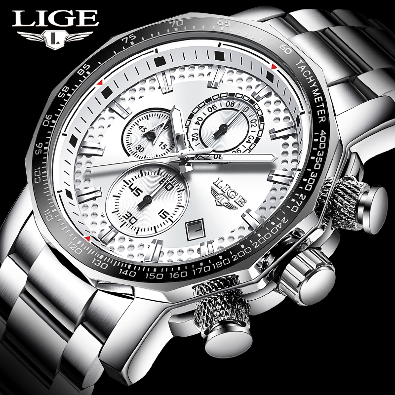 LIGE Top Brand Luxury Men Fashion Watch Men Sport Waterproof Quartz Watches Men Full Steel Army Military Watch Relogio Masculino(China)