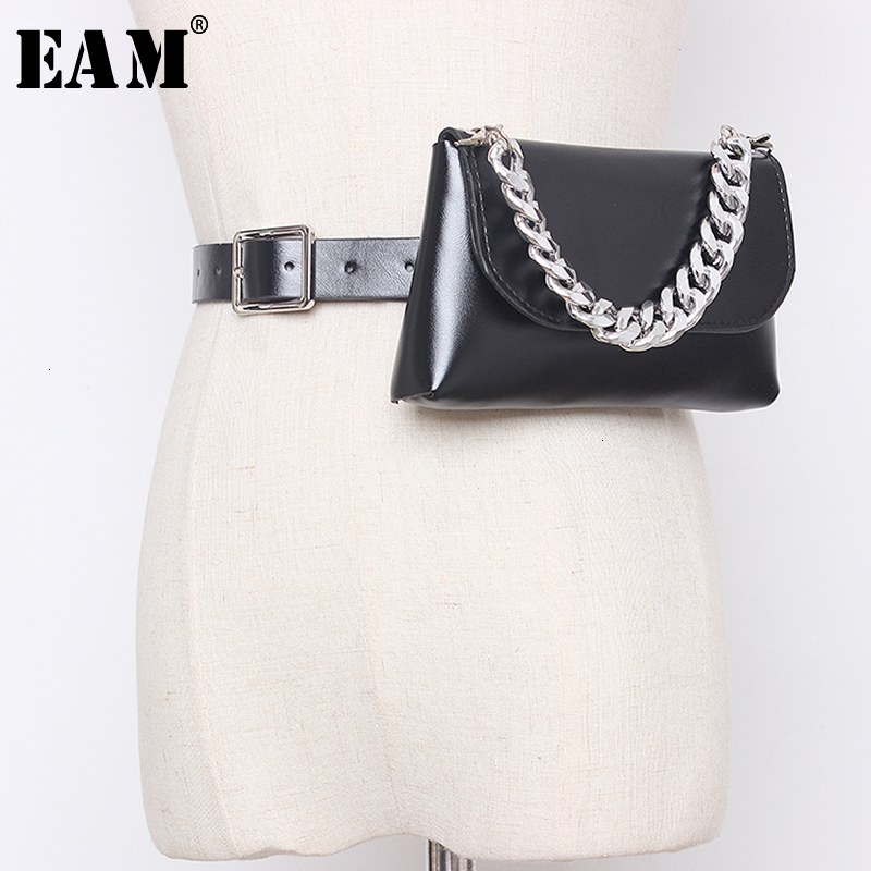 [EAM]  Pu Leather Chain Split Mini-bag Long Wide Belt Personality Women New Fashion Tide All-match Spring Autumn 2020 19A-a354