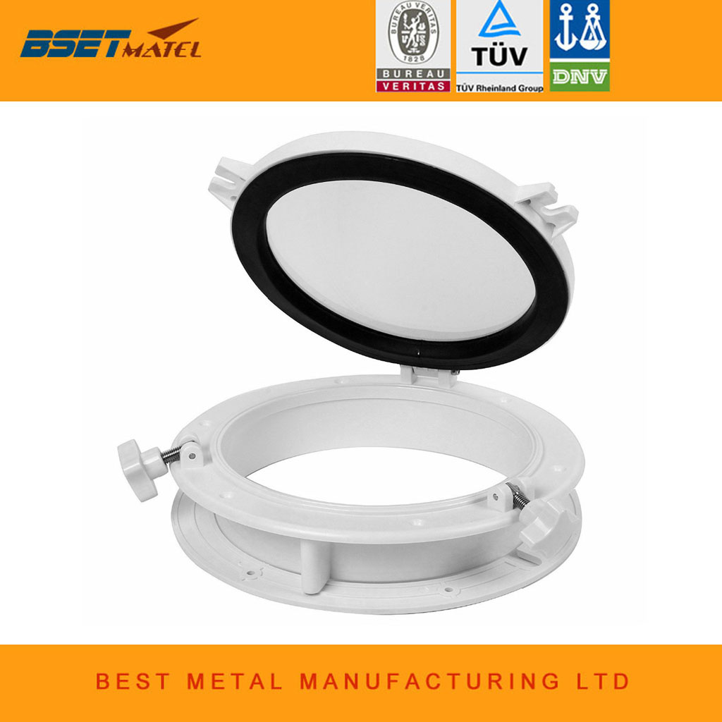 265mm Marine Boat Yacht RV Porthole ABS Plastic White Round Hatches Port Lights Replacement Windows Port Hole Opening Portlight