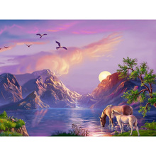 5D Diamond Embroidery Sale Scenery Rhinestones Pictures Painting Full Square Mountain Horse Mosaic Cross Stitch decor