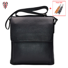 TIANHOO 100% genuine leather messenger bag men Litchi pattern crossbody flap shoulder christmas gift