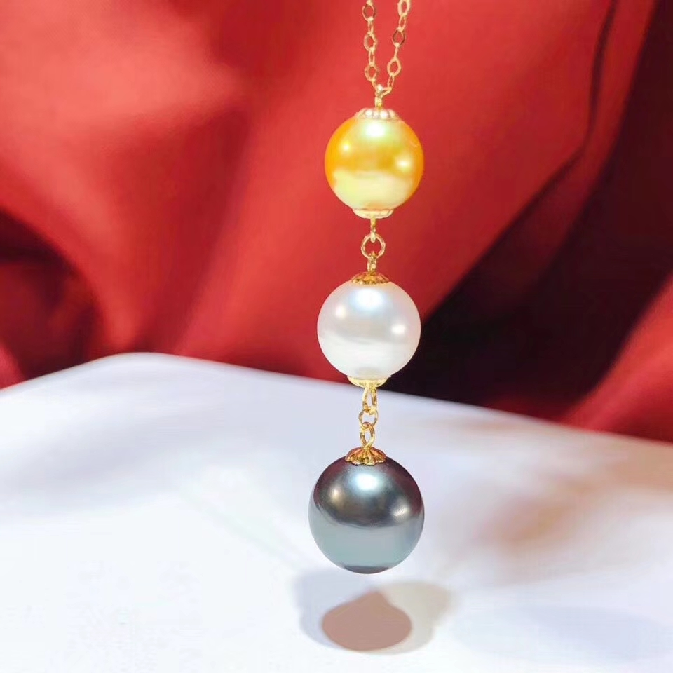 D412 Pearl Necklace Fine Jewelry Solid 18K Gold Natural Fresh Water Three Color Pearls Necklaces for Women Presents