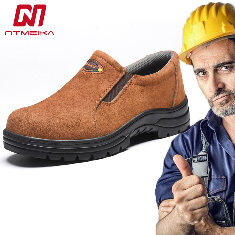 Plus Size 37-45 Men Work Safety Shoes Steel Toe Cow Leather Slip-on Safety Boots Breathable Puncture-proof Outdoor Shoes