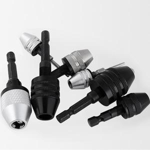 Hex Drill Bits Adapter Keyless Shaft Chuck Clamp 0.3-8 mm Electric Motor Shaft Mini Chuck Fixture 1/4 ''Hex Shank Drill Chuck