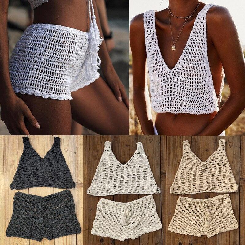 Hand Crochet Cover Up Bikini Set Net Women Boho Sexy Beach Shorts Festival Clothing