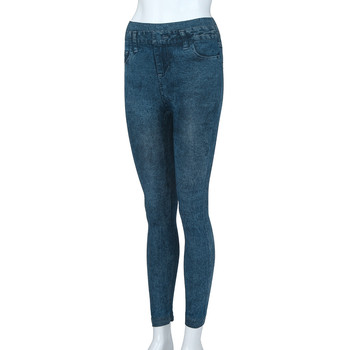 2021 New Fashion Simple Casual Women's Solid Colour Pockets Elastic Waist Band High-Waisted Slimming Pencil Jeans Long Trousers 2