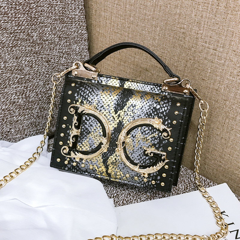 Autumn And Winter New Arrival Pu Cool Snakeskin Square Sling Bag Online Celebrity WOMEN'S Bag 2019 New Style Fashionable Handbag
