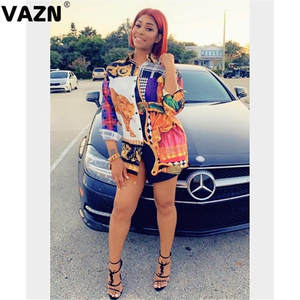 VAZN T-Shirt Dress Button Colors Full-Sleeve Sexy Lady Casual New-Arrival Print Summer