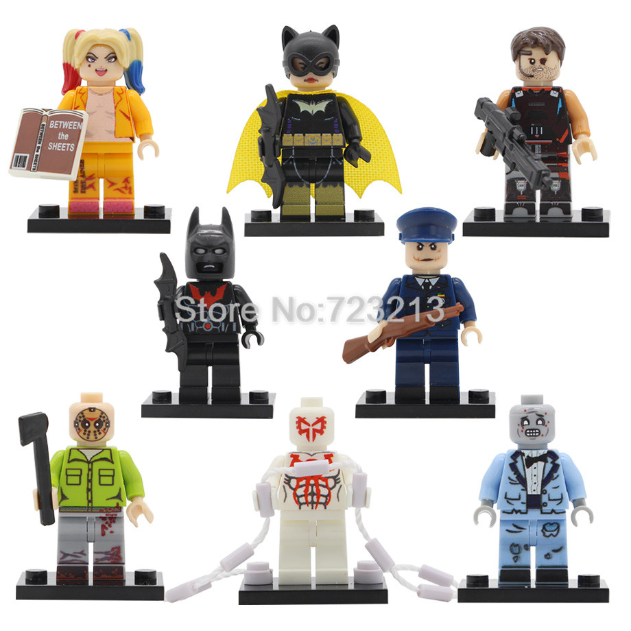 Super Hero Movie Friday The 13th Headhunter Figure Police Joker Zombie Bgirl Spider Man Building Block Models Brick Toys Legoing