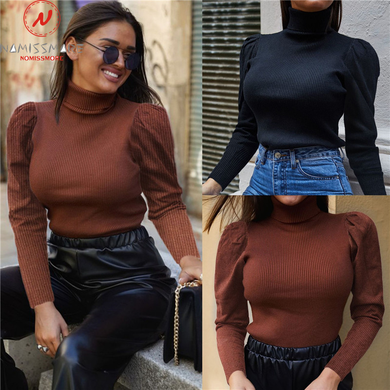 Elegant Women Autumn Winter Warm Comfortable Sweaters Patchwork Design High Collar Puff Sleeve Solid Color Slim Knitted Top