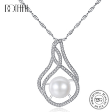DOTEFFIL 925 Silver Zircon Chain Pearl Necklace Oval Natural Freshwater Pearl 10-15MM Pendant Necklace Pearl Jewelry Women  Gift jyx 4mm natural white freshwater cultured pearl necklace with green oval turquoise pendant single strand handmade aaa 37