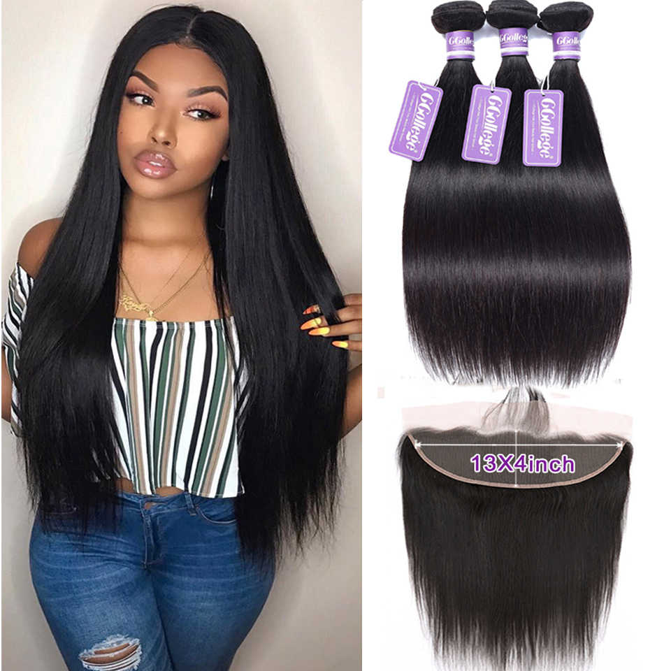 Ccollege Human Hair Frontal Closure With Bundles Brazilian Straight Hair Bundles With Frontal Middle/Free/Three Part Non Remy