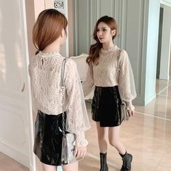 Chiffon Lace Shirt Women's 2019 New Style Versatile Sweet Very Fairy of Lantern Sleeve Western Style Base Shirt Tops