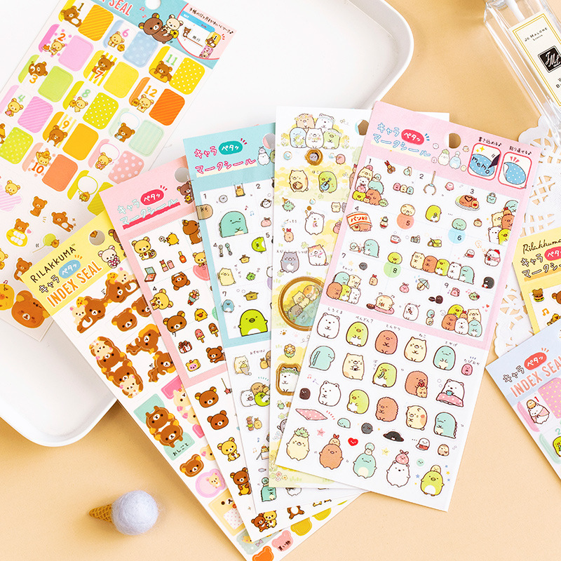 Kawaii Cartoon PET Rilakkuma Sumikko Gurashi Bullet Journal Decorative Stationery Stickers Scrapbooking DIY Diary Stick Label