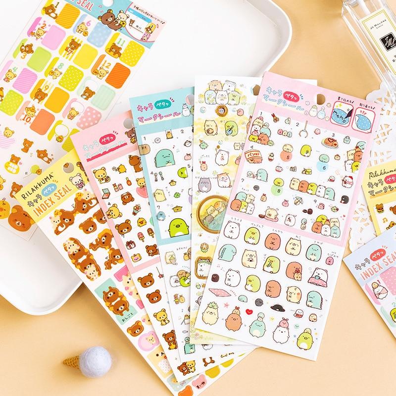 Kawaii Cartoon PET Rilakkuma Sumikko Gurashi Bullet Journal Decorative Stationery Stickers Scrapbooking DIY Diary Stick Label