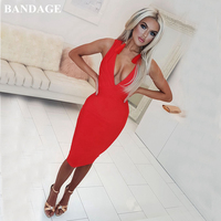 BANDAGE Sexy Red Women Botiques Open Back Bandage Dress Deep V Neck Dresses Sleeveless Celebrity Cocktail Bodycon Vestidos