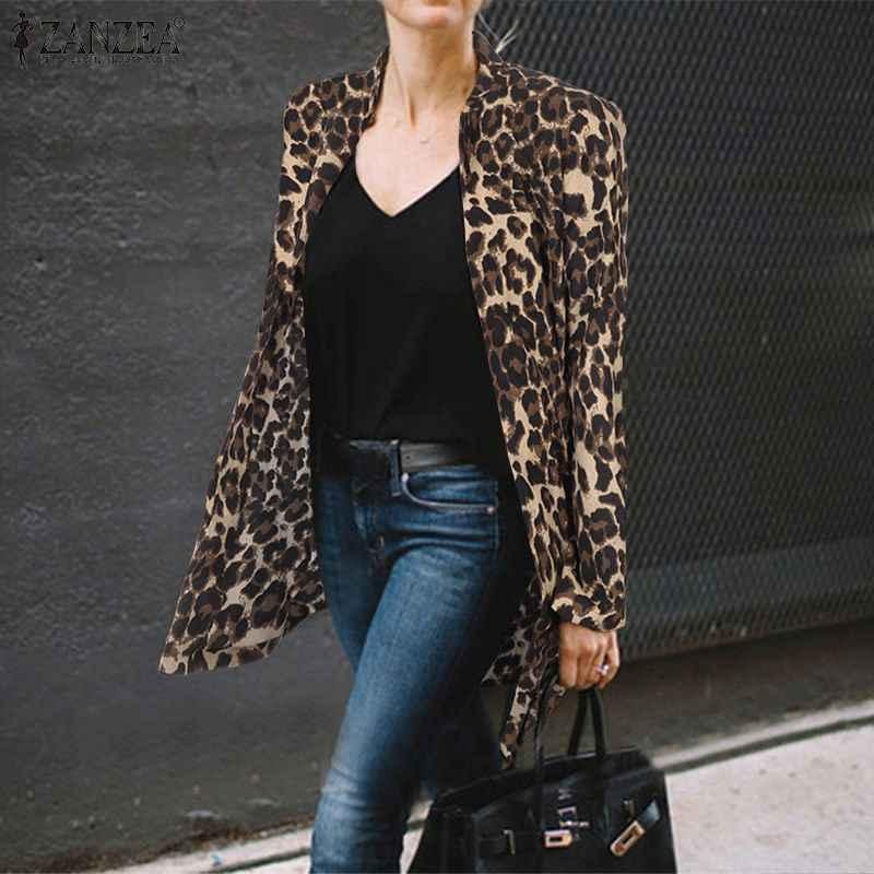 2020 moda leopardo impresso jaquetas zanzea feminino trabalho ternos veludo engrossar casacos senhoras casual gola bussiness outwear