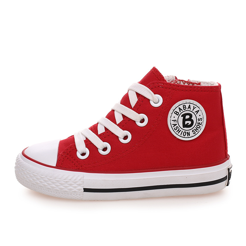 Image 3 - Kids shoes for girl children canvas shoes boys sneakers 2019 Spring autumn girls shoes White High Solid fashion Children shoesshoe boxes for bootsshoe candlesshoe flower -