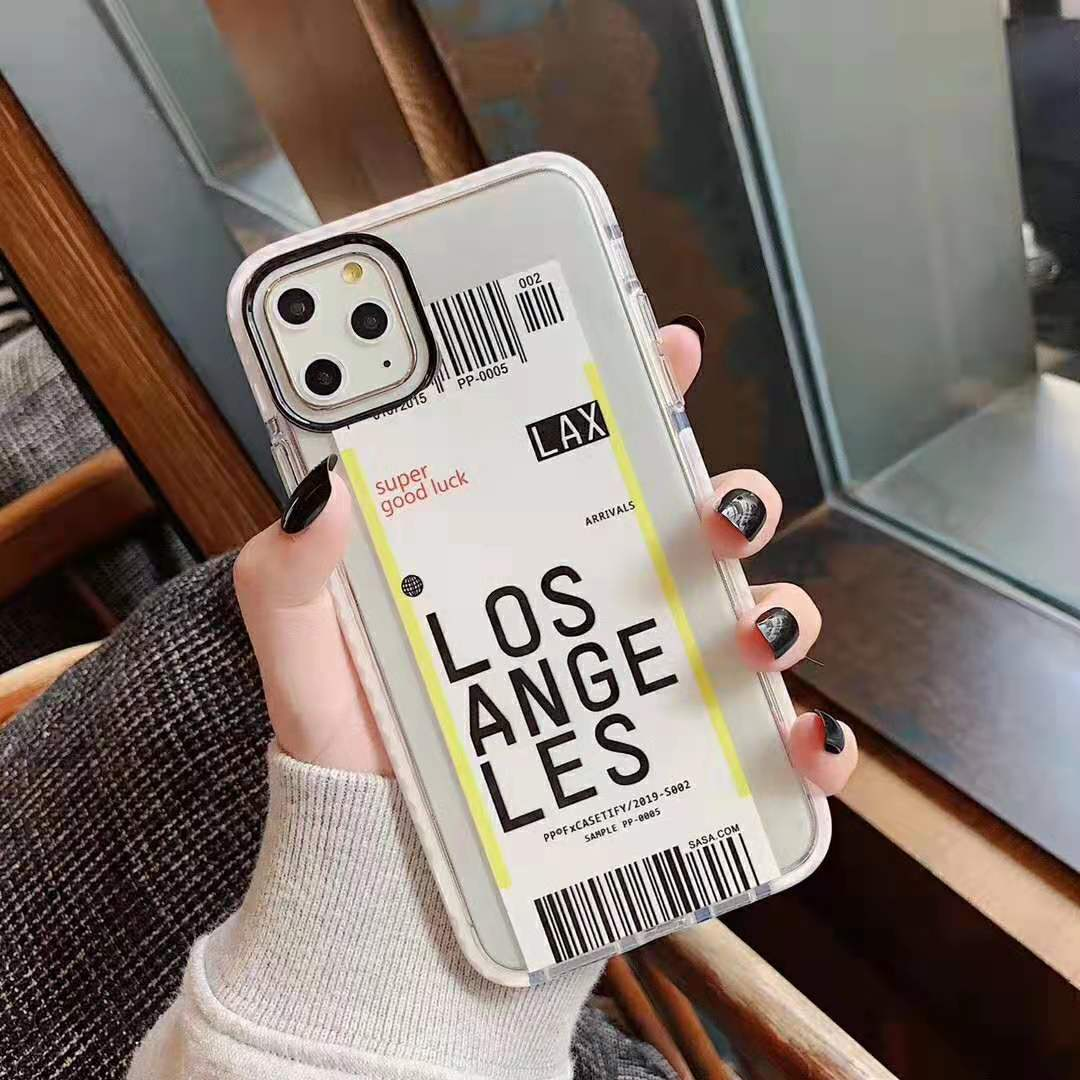 H5dfbc3e5c82d43e6ab8008e80df15b2ev - Toronto New York Luxury Air Tickets Bar code Label case for iPhone 11 Pro XS Max XR 6s 7 8 Plus Los Angeles 3D Color Clear cover