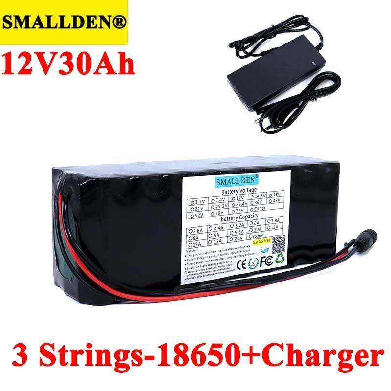 SMALLDEN-batería recargable de litio, 11,1 v, 12V, 30Ah, 18650 V, 12,6 mah, 30000 W, para Miner's Lamp, carrito de golf con 3s BMS