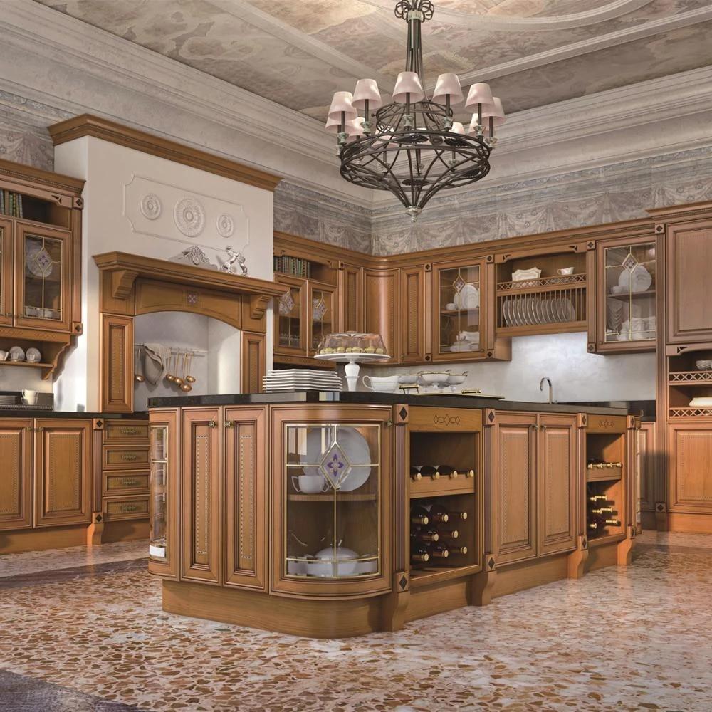 Modular Modern Antique Solid Wood Kitchen Furniture Cabinets Design