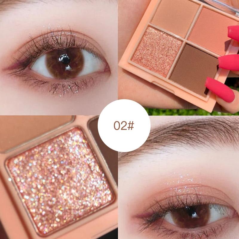 4 цвета женский макияж, палитра теней для век, блестящие перламутровые водостойкие зеркальные тени для век TSLM1