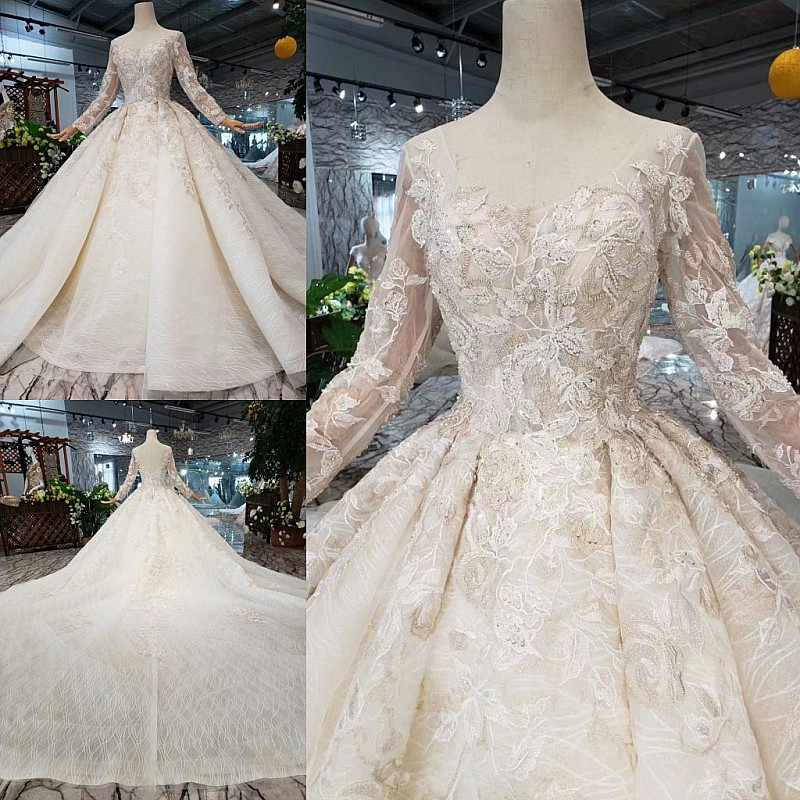 SSYFashion New Luxury Wedding Dress High-end Bride Long Sleeve Court Train Lace Beading Wedding Gown Vestidos De Novia Custom
