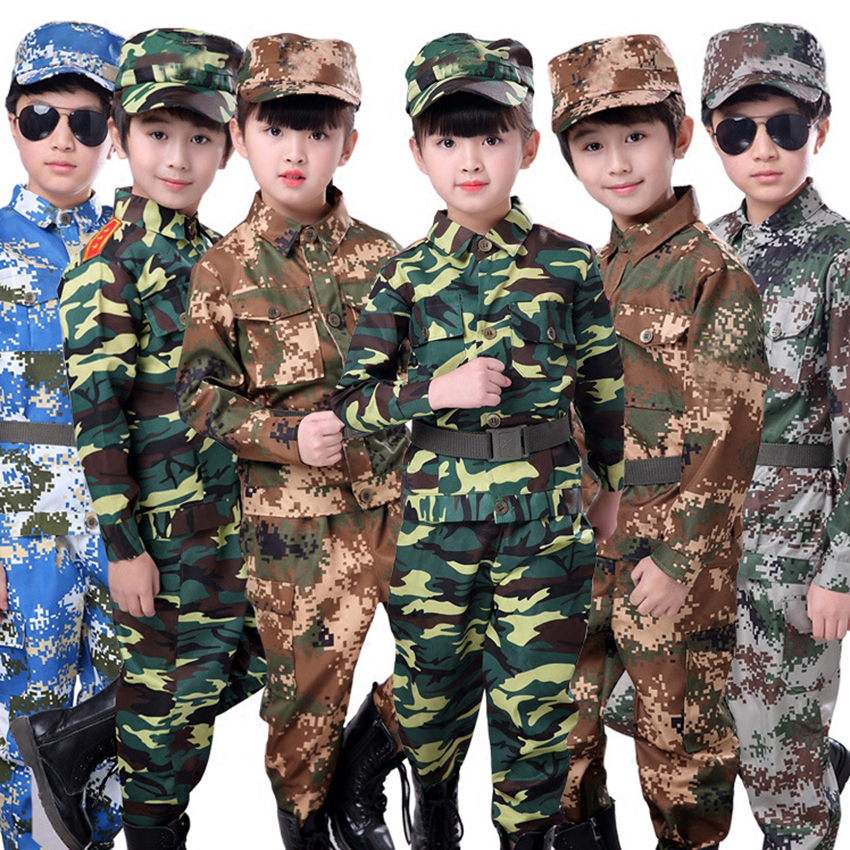 Tactical Military Uniform for Children's Day Disguise Adult Carnival Halloween Costumes for Kid Girl Scout Boy Soldier Army Suit image