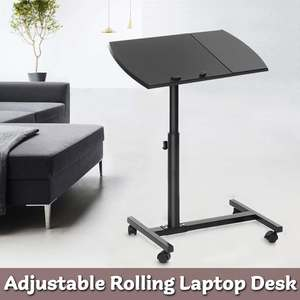 2020 HOT Adjustable Height Laptop Stand Rolling Cart Desk Computer Table Desk Bed Sofa Tray Rolling Notebook Desk with Wheels