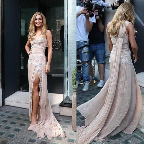 Вдохновляющее длинное платье знаменитостей на одно плечо, Струящееся вечернее платье с разрезом спереди, платье футляр без рукавов, женское вечернее платье 2019