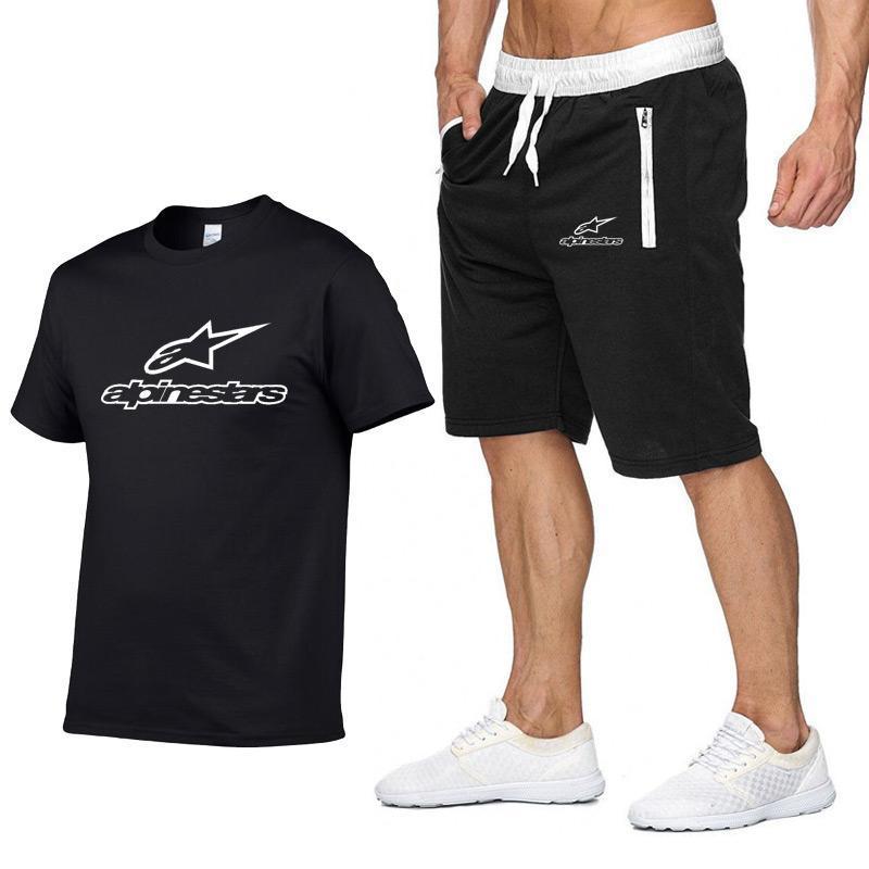 Conjunto de camiseta de tirantes y pantalones cortos para hombre... chndal de 2 piezas + pantaln corto... camisetas informales de playa 2020