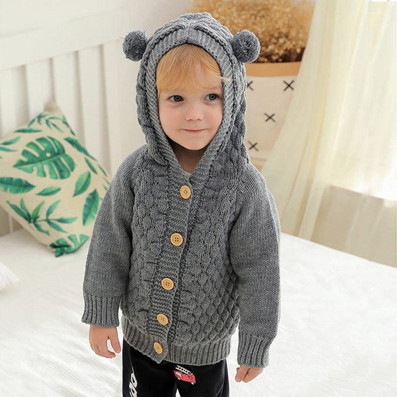 Hooded Jacket for Baby Girls 2021 Thick Warm Jacket for a Boy Newborn Clothes Coat Knitted Clothing Baby Girl Clothes Outfits