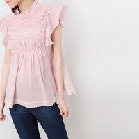 Women Sleeveless Ruffle Blouse Pink Cotton Hollow Out 2020 New Spring Summer Sweet Top