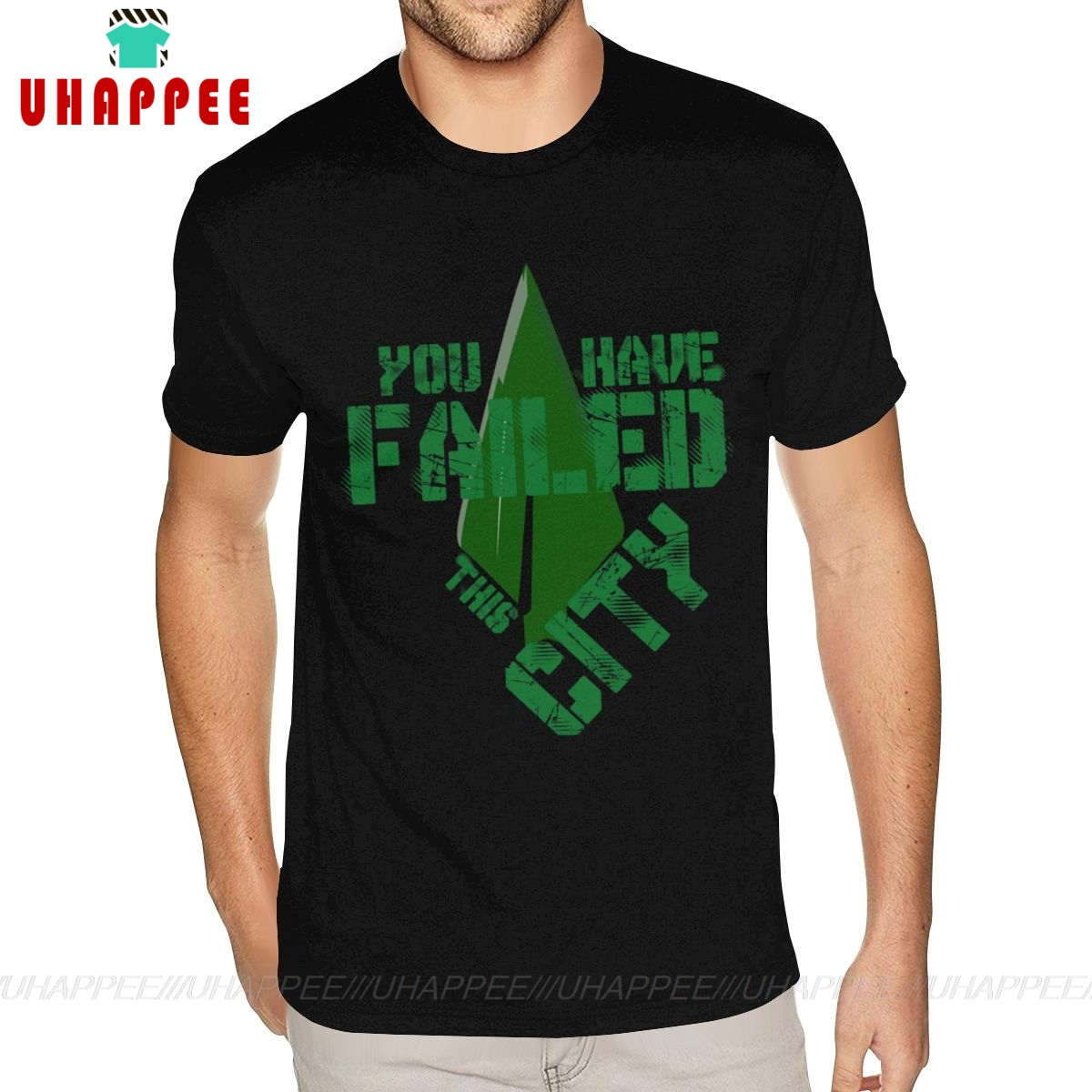 Unique Arrow Green Tees Shirt Short Sleeve Cotton Men 6XL Black Tees Shirt