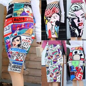 Image 1 - Falda ajustada de cintura alta con estampado de ratón para mujer, Falda de tubo con estampado de dibujos animados, de talla grande, estilo japonés, para verano