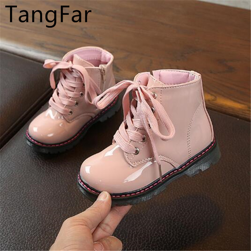 Autumn  Children Patent Leather Ankle Boots Boys Girls Fashion Non-slip Soft Waterproof Lacing Up Toddler Short Boot Botas