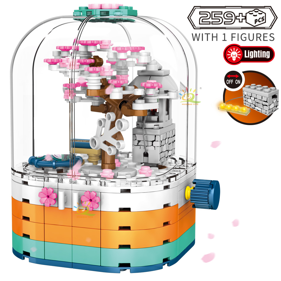HUIQIBAO 259Pcs Oriental Cherry Theme Kimono City Building Blocks Sakura Tree Creativity Luminous Bricks Figures Toys Children