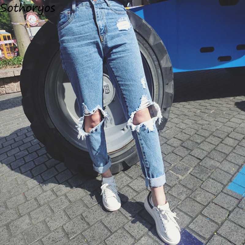 Jeans Women Hole Comfortable High Waist Zipper Fly Womens Pockets Korean Style Daily Leisure Loose Straight Plus Size Trousers