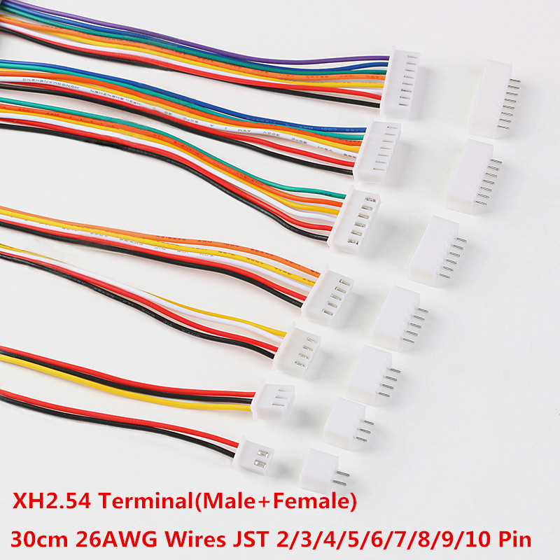 10Sets <font><b>JST</b></font> <font><b>XH2.54</b></font> XH 2.54mm 300MM 26AWG Wire Cable Connector 2/3/4/5/6/7/8/9/10 Pin Pitch <font><b>Male</b></font> Female Plug Socket image