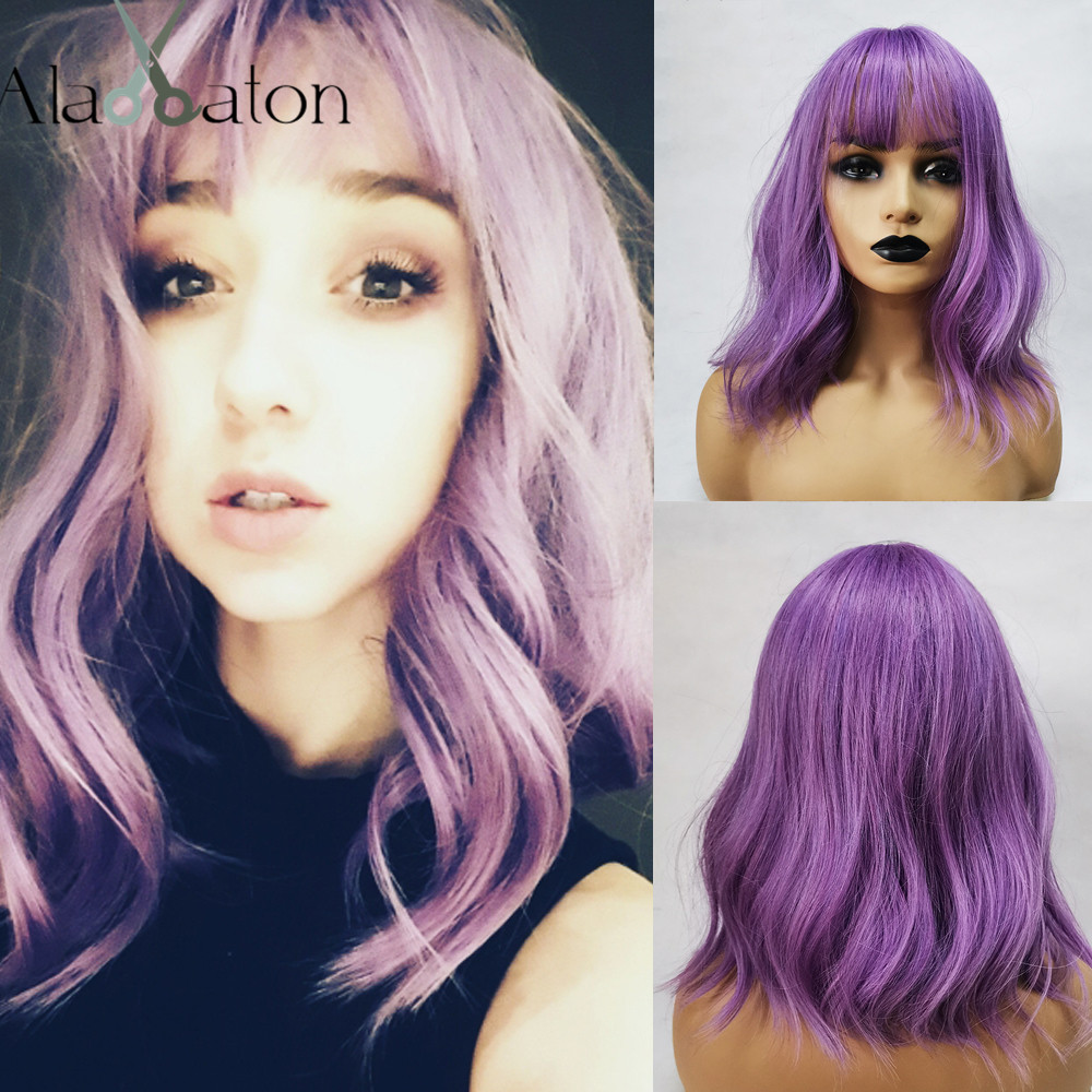 ALAN EATON Synthetic Short Wigs For Black Women Wavy Hair Purple Wigs With Bangs Heat Resistant Cut Natural Cosplay Wigs