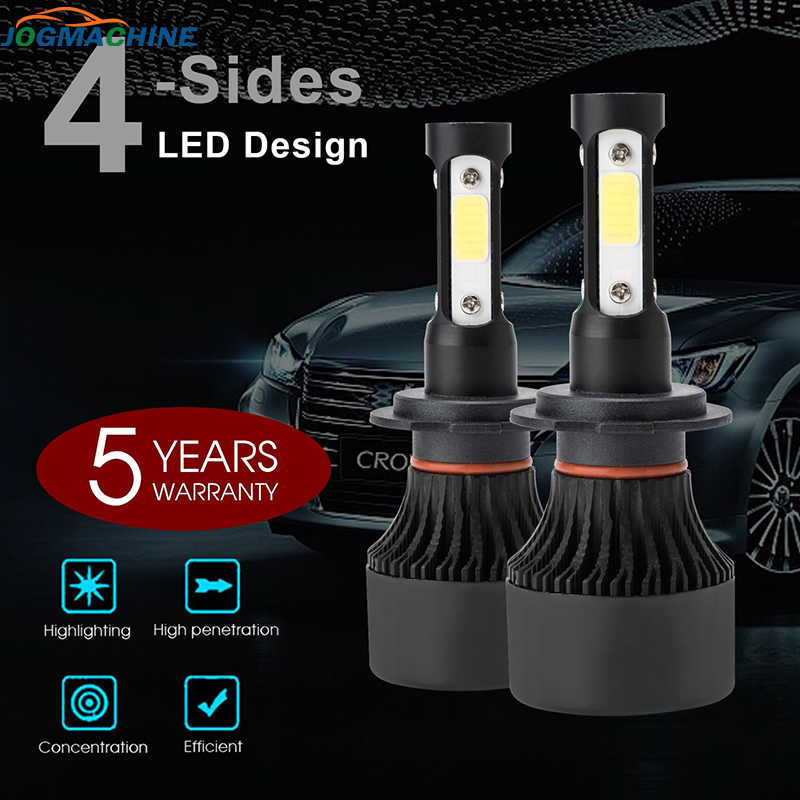 2x Car Headlight H7 H4 H8 H9 H11 Car 4-Sides LED Headlight  9004 9005 9005 9006 H13 6000K 200W 20000LM Hi/Low Kit Bulbs Beam 600