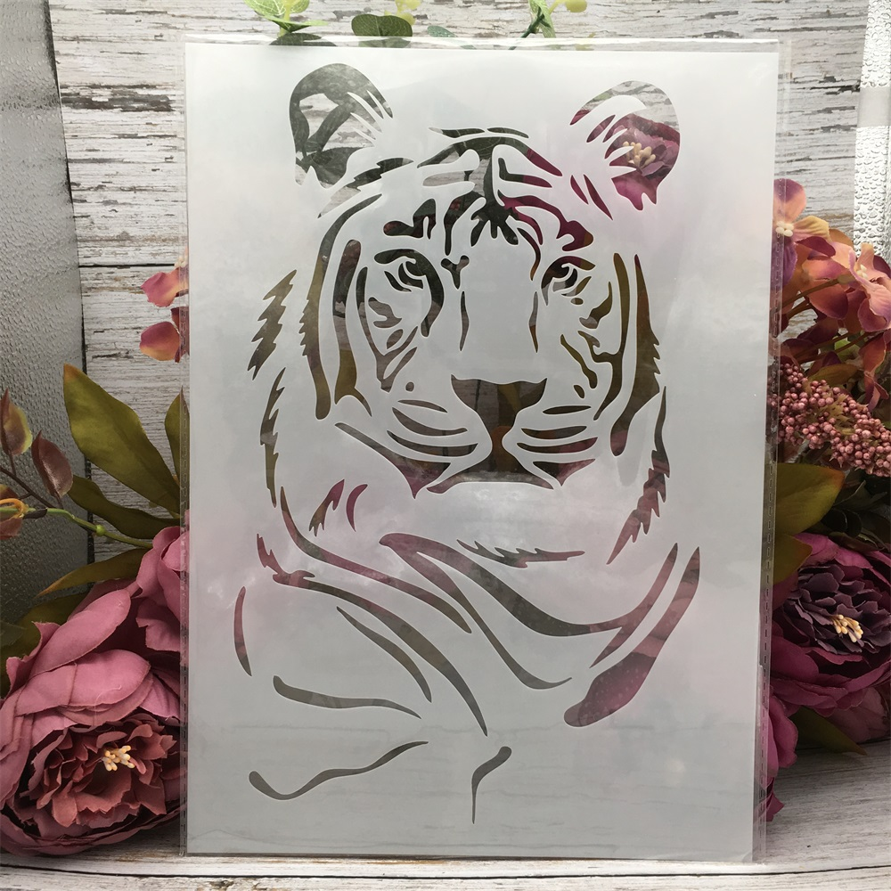29*21cm A4 Awesome Tiger DIY Layering Stencils Wall Painting Scrapbook Coloring Embossing Album Decorative Paper Card Template